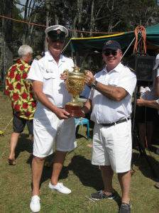 Goodwill Cup handover. Commodore Phil Short (SYC) and Commodore Kevin Miller (RQYS)