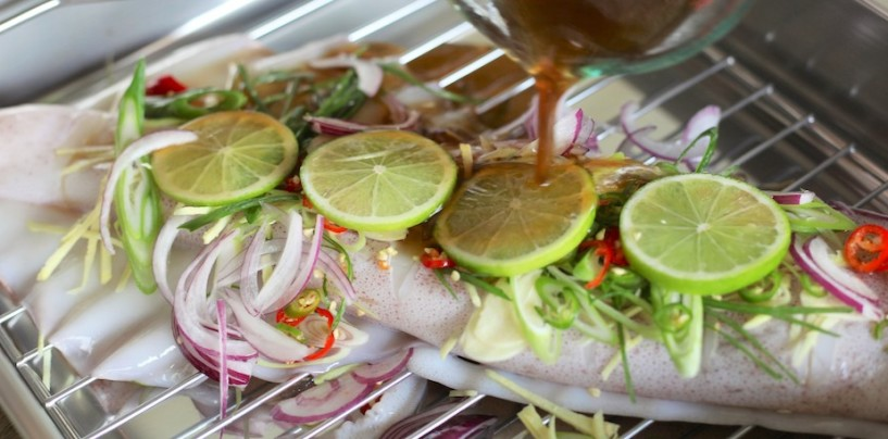 Steamed Whole Squid with Herbs and Ginger Dressing – Phla Meuk Noeng Ma Now
