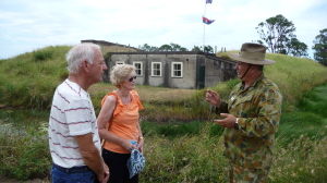 You can do a guided tour of Fort Lytton for a donation, as this Gold Coast couple did. CREDIT CAROLINE STRAINIG