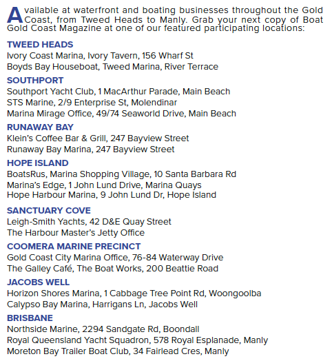 BOAT GOLD COAST MAGAZINE OUTLETS